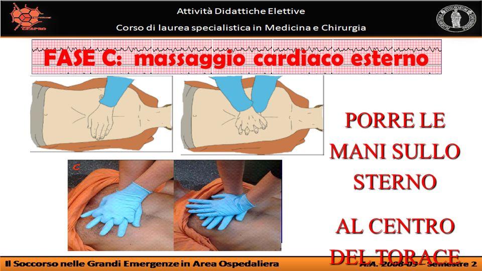PORRE LE MANI SULLO STERNO AL CENTRO DEL TORACE FASE C: massaggio cardiaco esterno