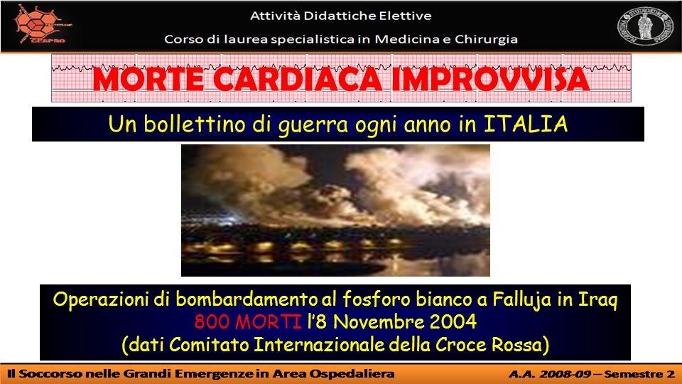 Operazioni di bombardamento al fosforo bianco a Falluja in Iraq 800 MORTI l8 Novembre 2004 (dati Comitato Internazionale della Croce Rossa) Un bollettino di guerra ogni anno in ITALIA MORTE CARDIACA IMPROVVISA