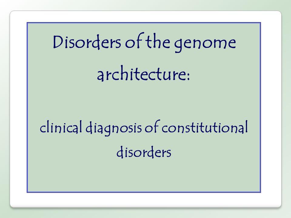 Disordini genomici * dovuti a riarrangiamenti ricorrenti del DNA coinvolgenti regioni genomiche instabili ** il fenotipo clinico è la conseguenza dei dosaggio anomalo dei geni localizzati nella regione instabile