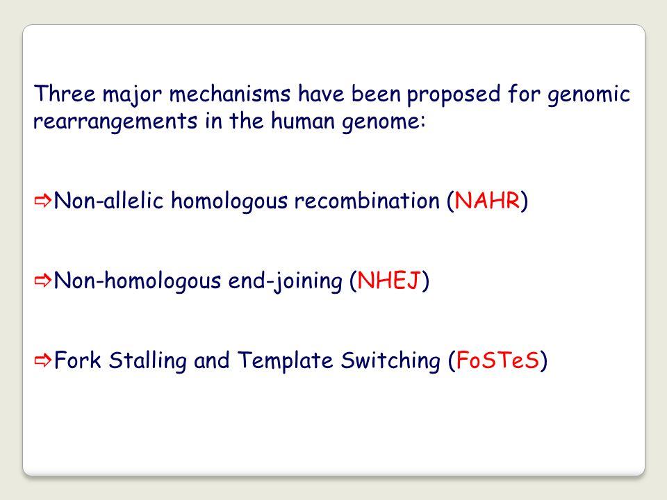 Three major mechanisms have been proposed for genomic rearrangements in the human genome: Non-allelic homologous recombination (NAHR) Non-homologous e