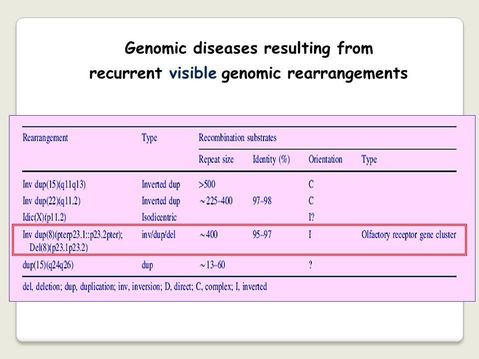 Genomic diseases resulting from recurrent visible genomic rearrangements