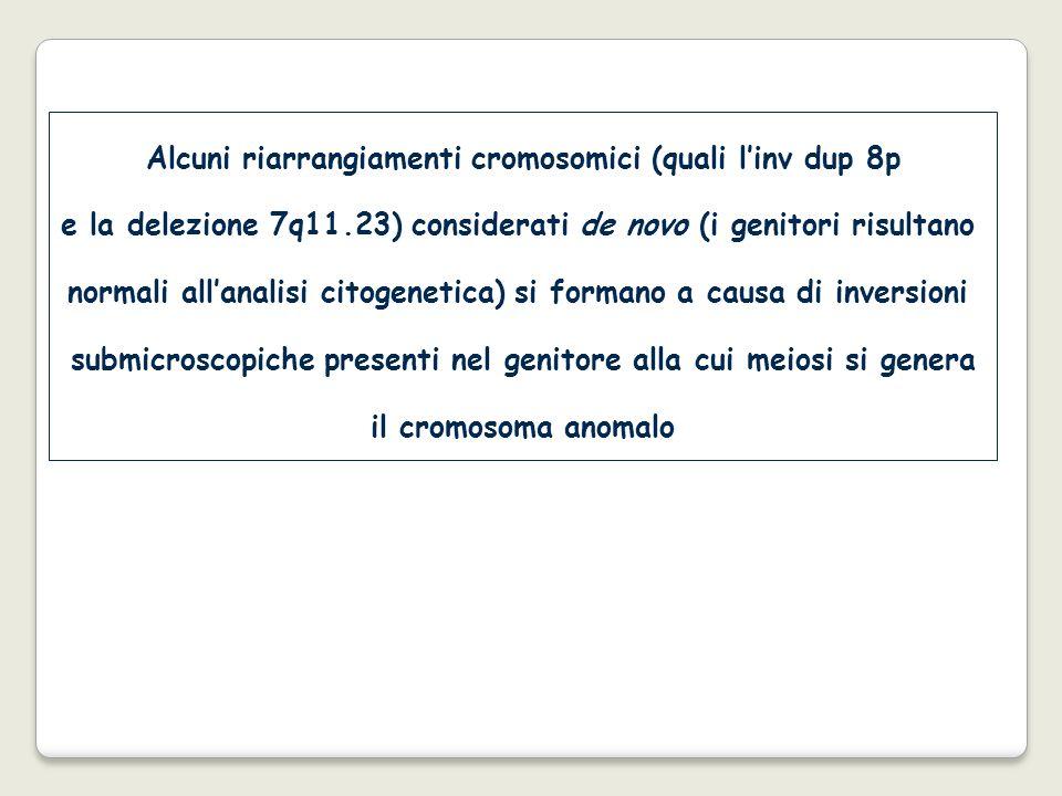 Alcuni riarrangiamenti cromosomici (quali linv dup 8p e la delezione 7q11.23) considerati de novo (i genitori risultano normali allanalisi citogenetic