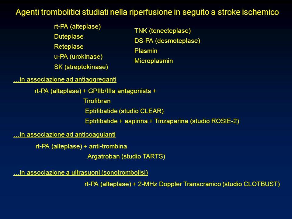 Agenti trombolitici studiati nella riperfusione in seguito a stroke ischemico rt-PA (alteplase) Duteplase Reteplase u-PA (urokinase) SK (streptokinase