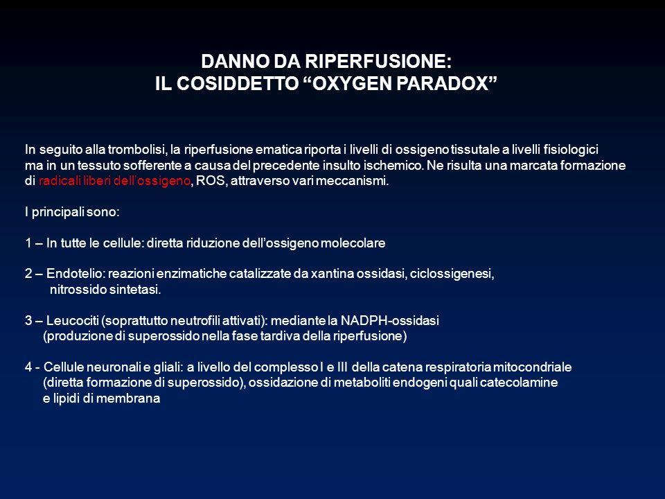 DANNO DA RIPERFUSIONE: IL COSIDDETTO OXYGEN PARADOX In seguito alla trombolisi, la riperfusione ematica riporta i livelli di ossigeno tissutale a live