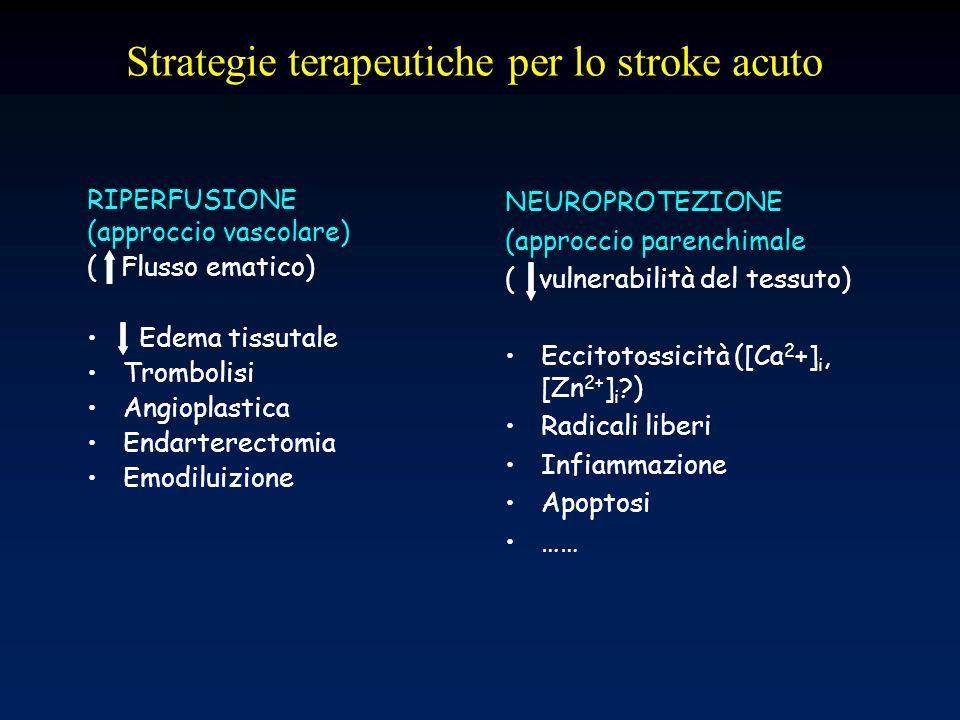 Trattamento dello stroke acuto: una rivalutazione Nessun tipo di neuroprotettore ha mostrato unefficacia maggiore degli altri: questo 1)indica che i meccanismi responsabili della neurodegenerazione ischemica hanno una analoga rilevanza patogenetica 2)suggerisce limportanza di un approccio terapeutico multiplo/combinatoriale
