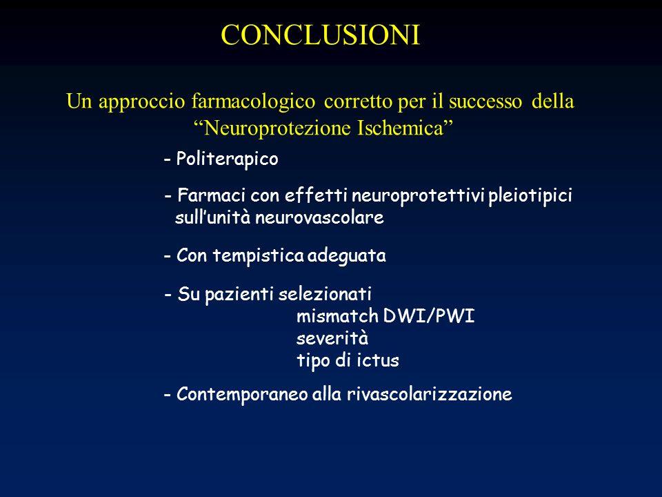 CONCLUSIONI Un approccio farmacologico corretto per il successo della Neuroprotezione Ischemica - Farmaci con effetti neuroprotettivi pleiotipici sull