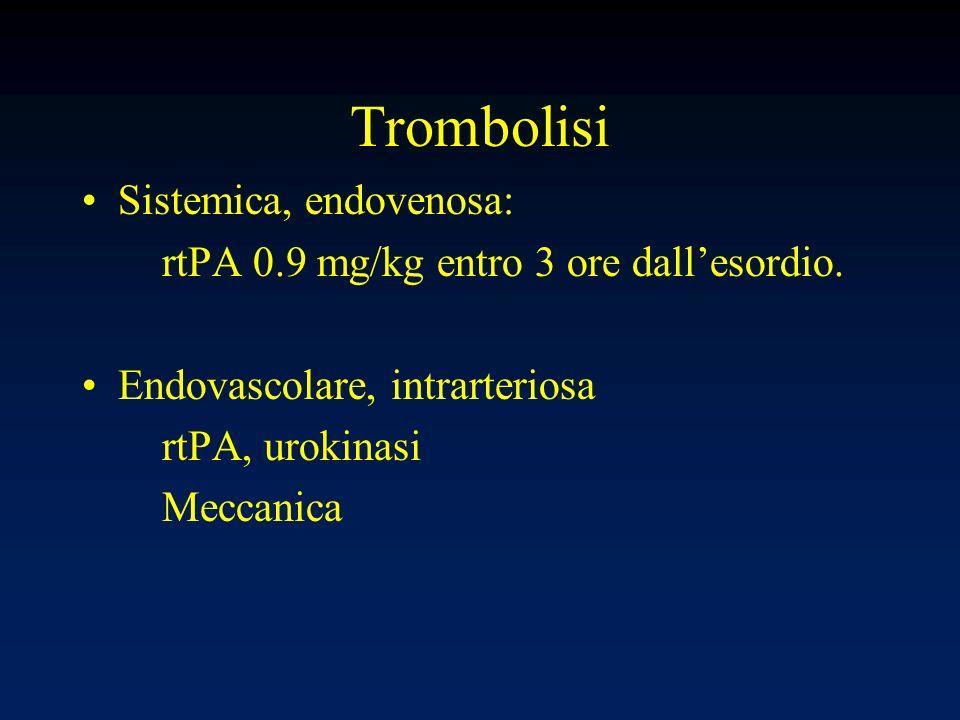 Trombolisi Sistemica, endovenosa: rtPA 0.9 mg/kg entro 3 ore dallesordio. Endovascolare, intrarteriosa rtPA, urokinasi Meccanica