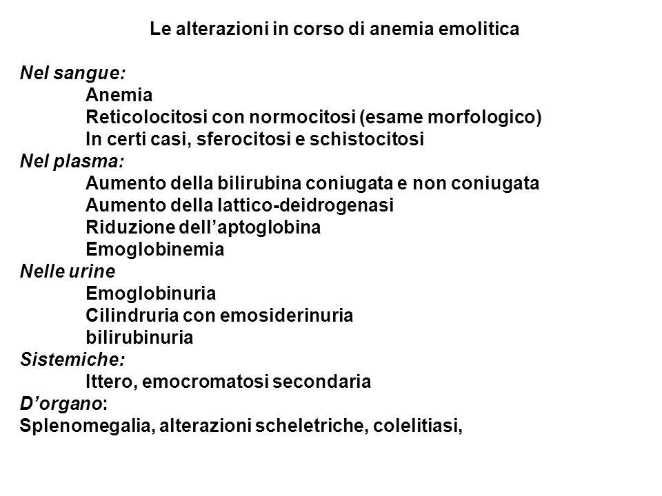 Le alterazioni in corso di anemia emolitica Nel sangue: Anemia Reticolocitosi con normocitosi (esame morfologico) In certi casi, sferocitosi e schisto