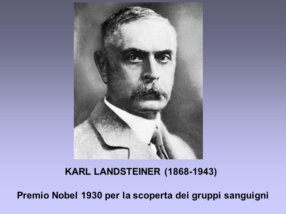 KARL LANDSTEINER (1868-1943) Premio Nobel 1930 per la scoperta dei gruppi sanguigni