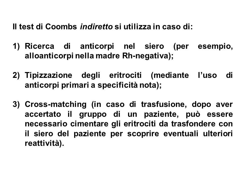 Il test di Coombs indiretto si utilizza in caso di: 1)Ricerca di anticorpi nel siero (per esempio, alloanticorpi nella madre Rh-negativa); 2)Tipizzazi