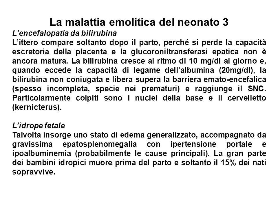 La malattia emolitica del neonato 3 Lencefalopatia da bilirubina Littero compare soltanto dopo il parto, perché si perde la capacità escretoria della