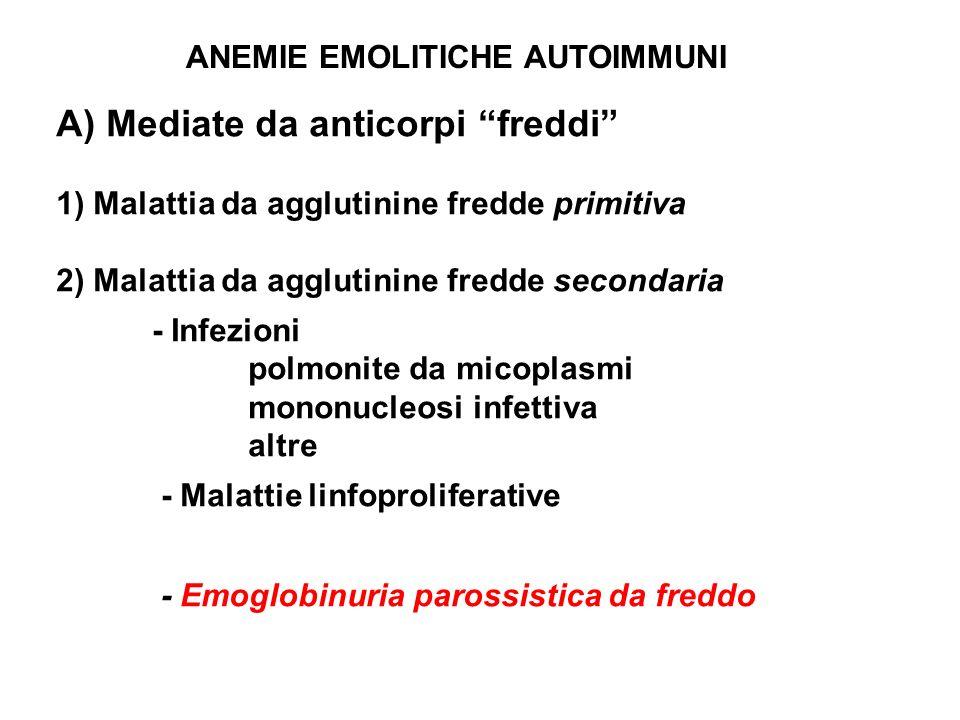 ANEMIE EMOLITICHE AUTOIMMUNI A) Mediate da anticorpi freddi 1) Malattia da agglutinine fredde primitiva 2) Malattia da agglutinine fredde secondaria -