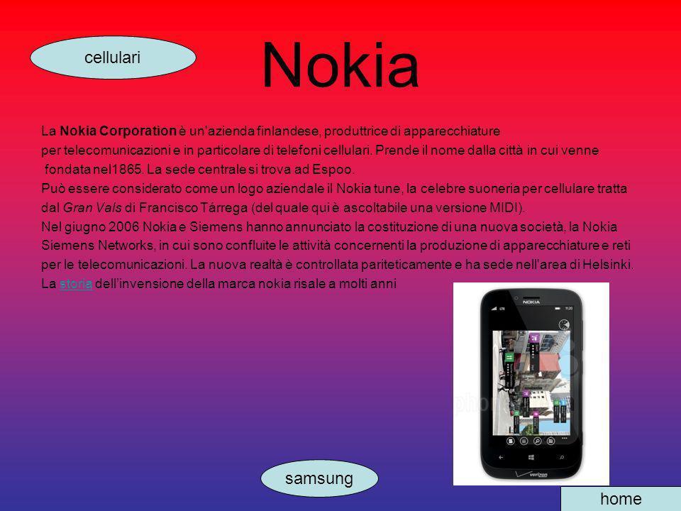 Nokia La Nokia Corporation è un'azienda finlandese, produttrice di apparecchiature per telecomunicazioni e in particolare di telefoni cellulari. Prend