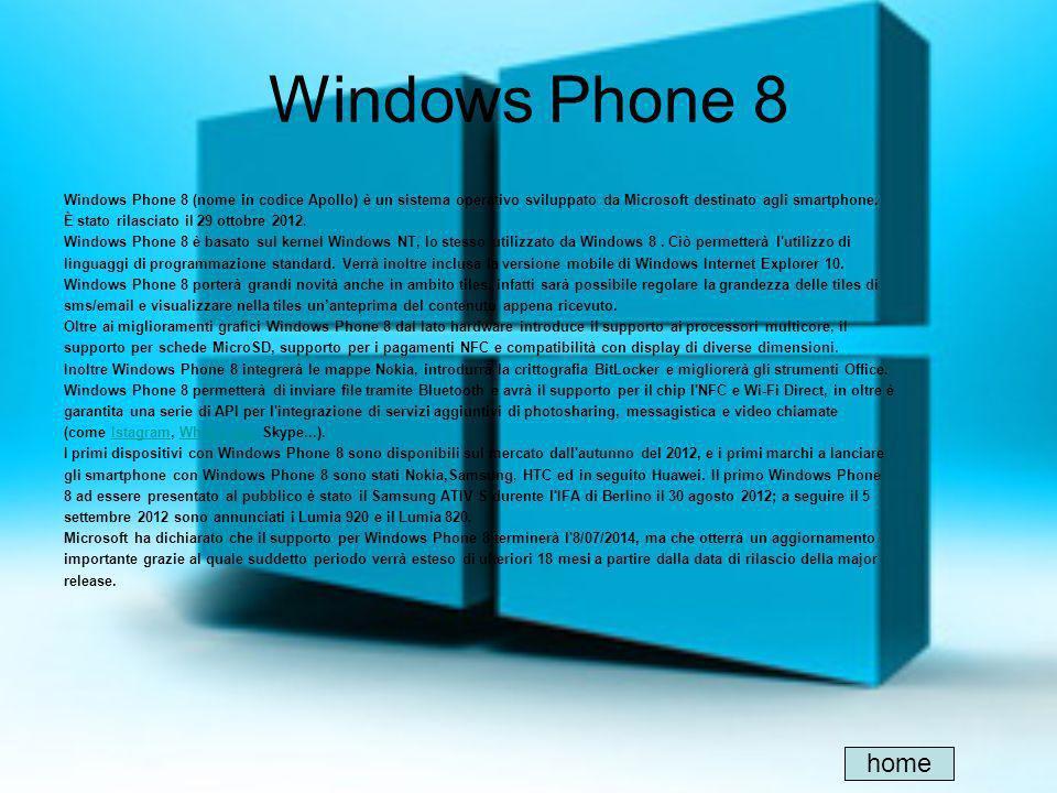 Windows Phone 8 Windows Phone 8 (nome in codice Apollo) è un sistema operativo sviluppato da Microsoft destinato agli smartphone. È stato rilasciato i