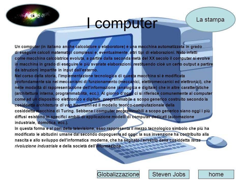 I computer Un computer (in italiano anche calcolatore o elaboratore) è una macchina automatizzata in grado di eseguire calcoli matematici complessi e,