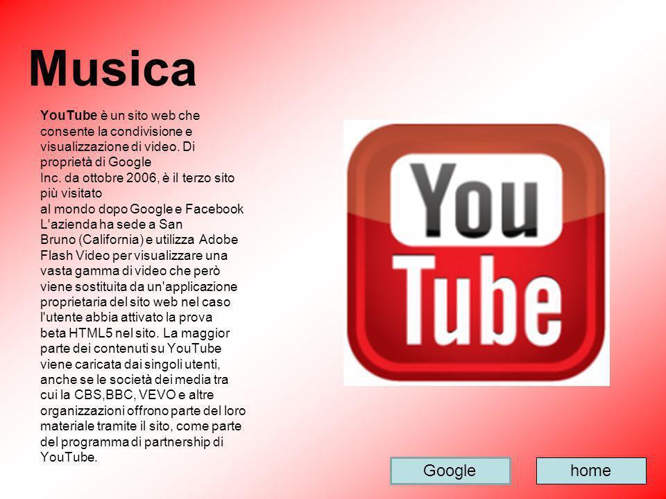 Musica YouTube è un sito web che consente la condivisione e visualizzazione di video. Di proprietà di Google Inc. da ottobre 2006, è il terzo sito più