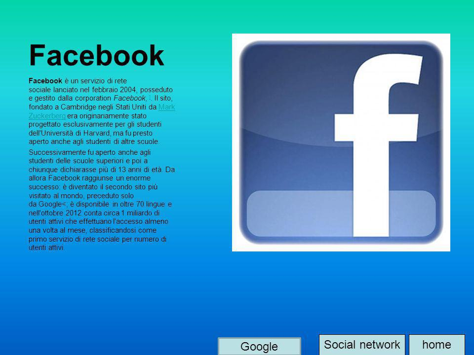 Facebook Facebook è un servizio di rete sociale lanciato nel febbraio 2004, posseduto e gestito dalla corporation Facebook, ]. Il sito, fondato a Camb