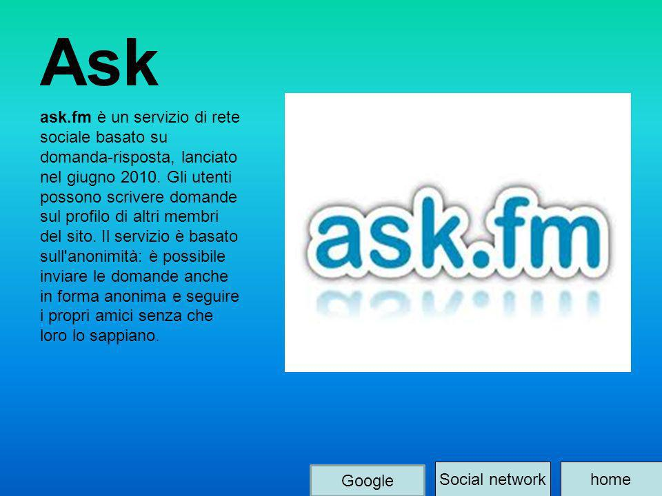 Ask ask.fm è un servizio di rete sociale basato su domanda-risposta, lanciato nel giugno 2010. Gli utenti possono scrivere domande sul profilo di altr