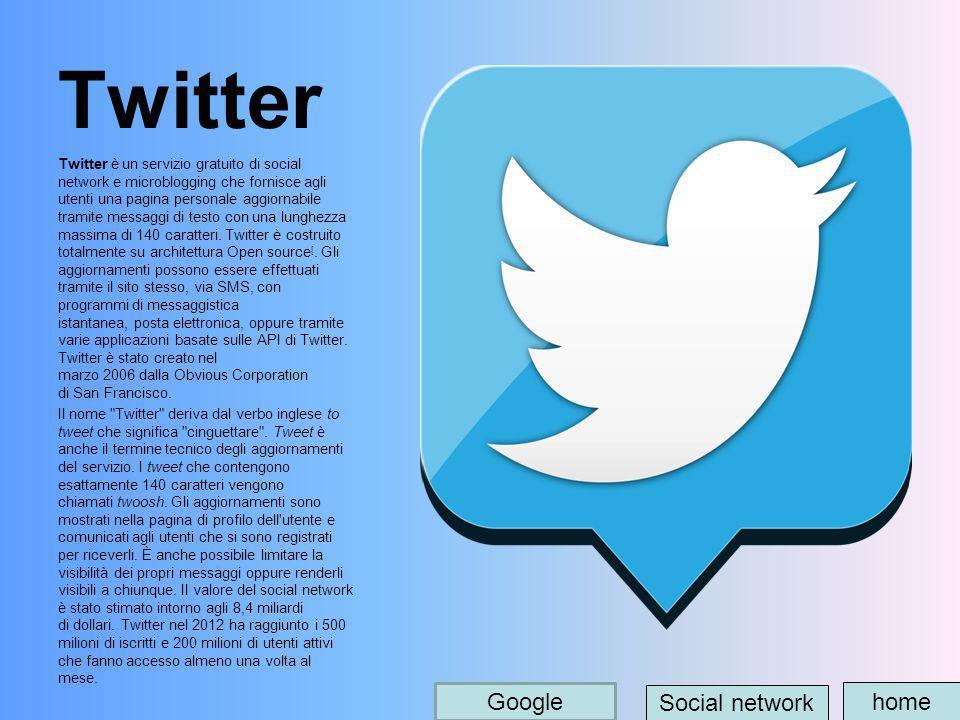 Twitter Twitter è un servizio gratuito di social network e microblogging che fornisce agli utenti una pagina personale aggiornabile tramite messaggi d