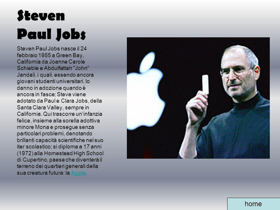 Steven Paul Jobs Steven Paul Jobs nasce il 24 febbraio 1955 a Green Bay, California da Joanne Carole Schieble e Abdulfattah
