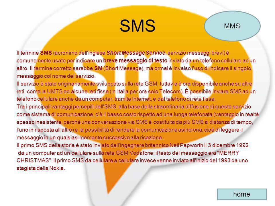 SMS Il termine SMS (acronimo dell'inglese Short Message Service, servizio messaggi brevi) è comunemente usato per indicare un breve messaggio di testo