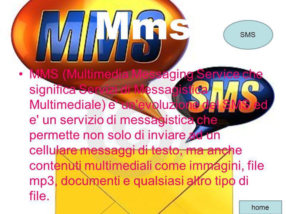 Mms MMS (Multimedia Messaging Service che significa Servizi di Messagistica Multimediale) e' un'evoluzione del SMS ed e' un servizio di messagistica c