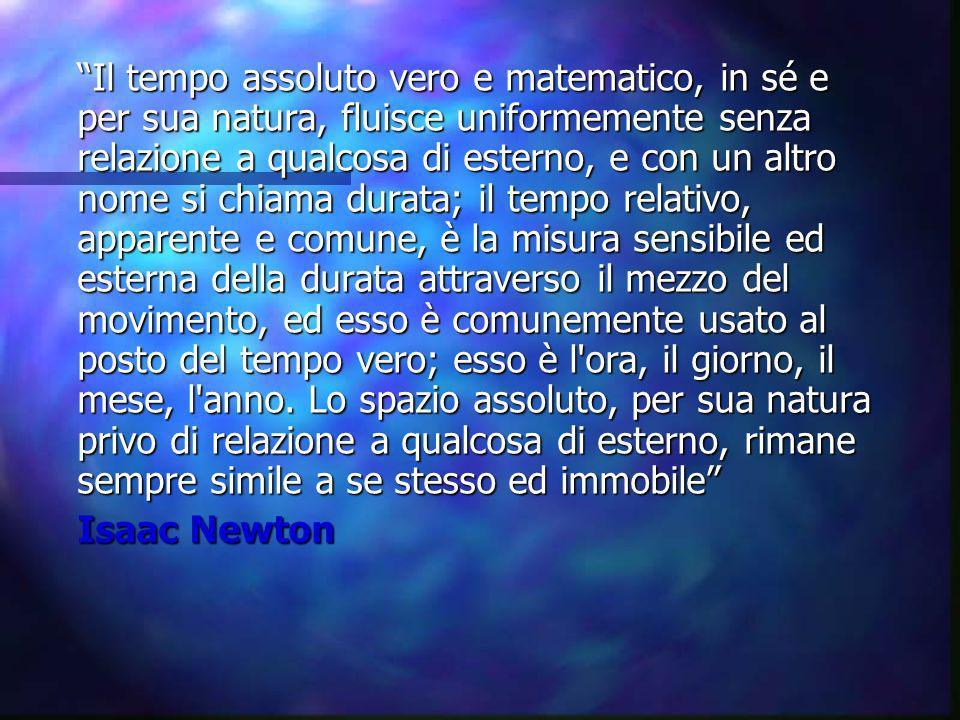 Il tempo assoluto vero e matematico, in sé e per sua natura, fluisce uniformemente senza relazione a qualcosa di esterno, e con un altro nome si chiam
