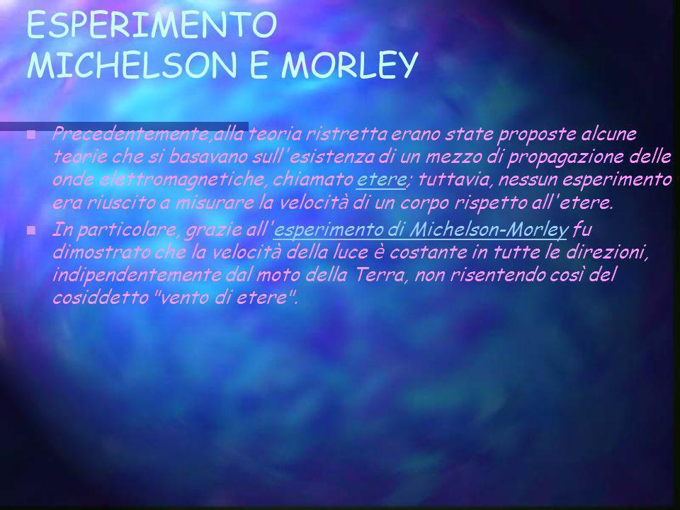 ESPERIMENTO MICHELSON E MORLEY Precedentemente,alla teoria ristretta erano state proposte alcune teorie che si basavano sull'esistenza di un mezzo di