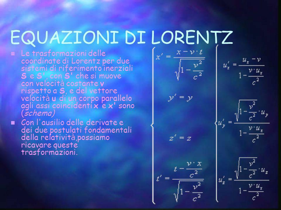 EQUAZIONI DI LORENTZ Le trasformazioni delle coordinate di Lorentz per due sistemi di riferimento inerziali S e S', con S' che si muove con velocit à