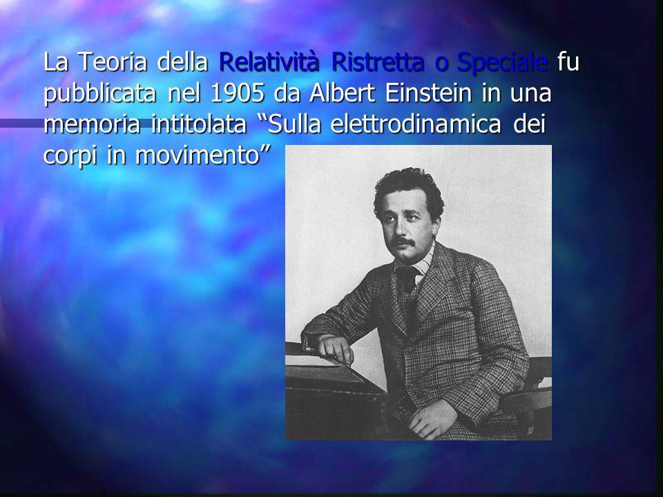 La Teoria della Relatività Ristretta o Speciale fu pubblicata nel 1905 da Albert Einstein in una memoria intitolata Sulla elettrodinamica dei corpi in