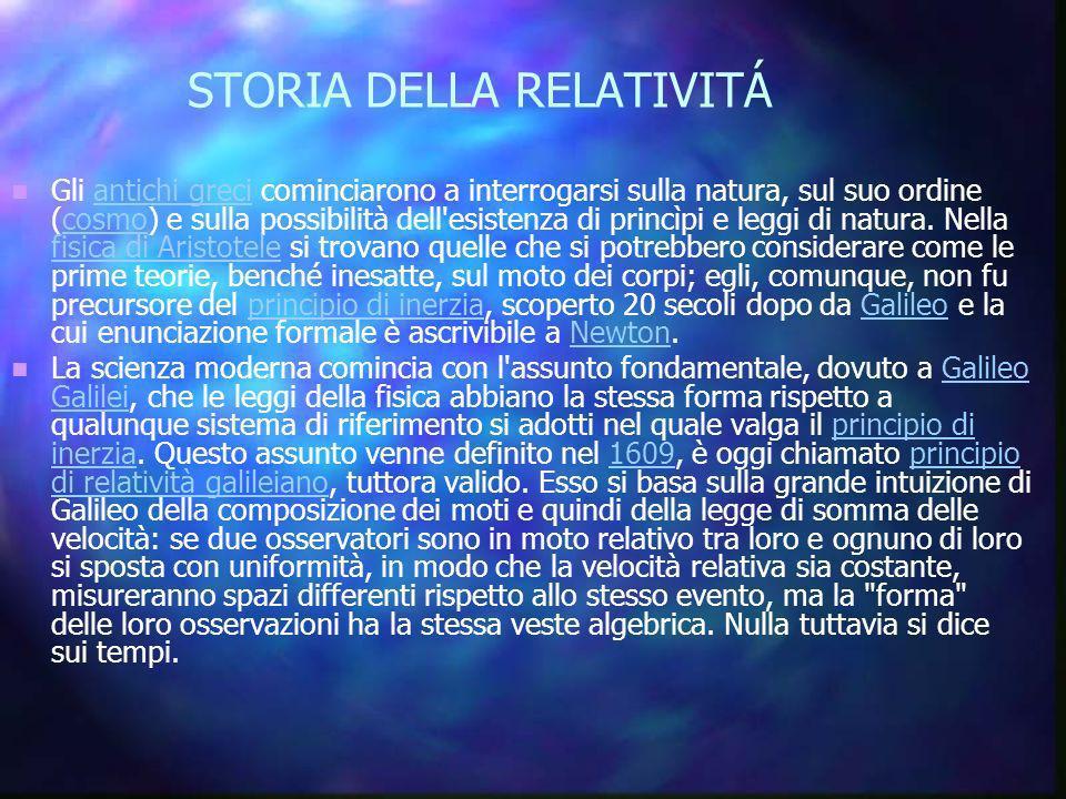 STORIA DELLA RELATIVITÁ Gli antichi greci cominciarono a interrogarsi sulla natura, sul suo ordine (cosmo) cosmoe sulla possibilità dell'esistenza di
