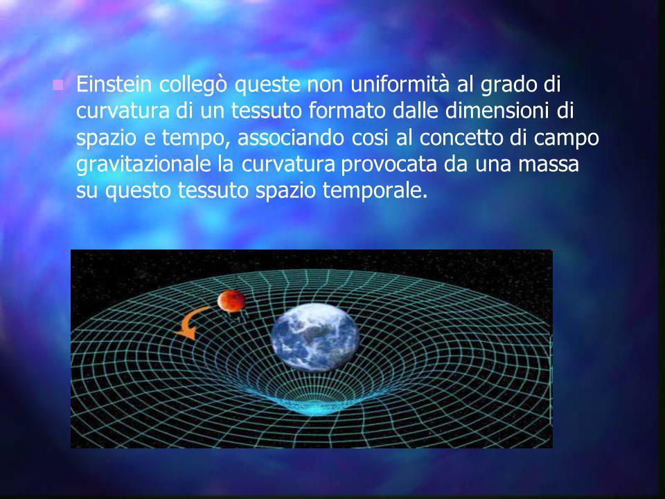 Einstein collegò queste non uniformità al grado di curvatura di un tessuto formato dalle dimensioni di spazio e tempo, associando cosi al concetto di