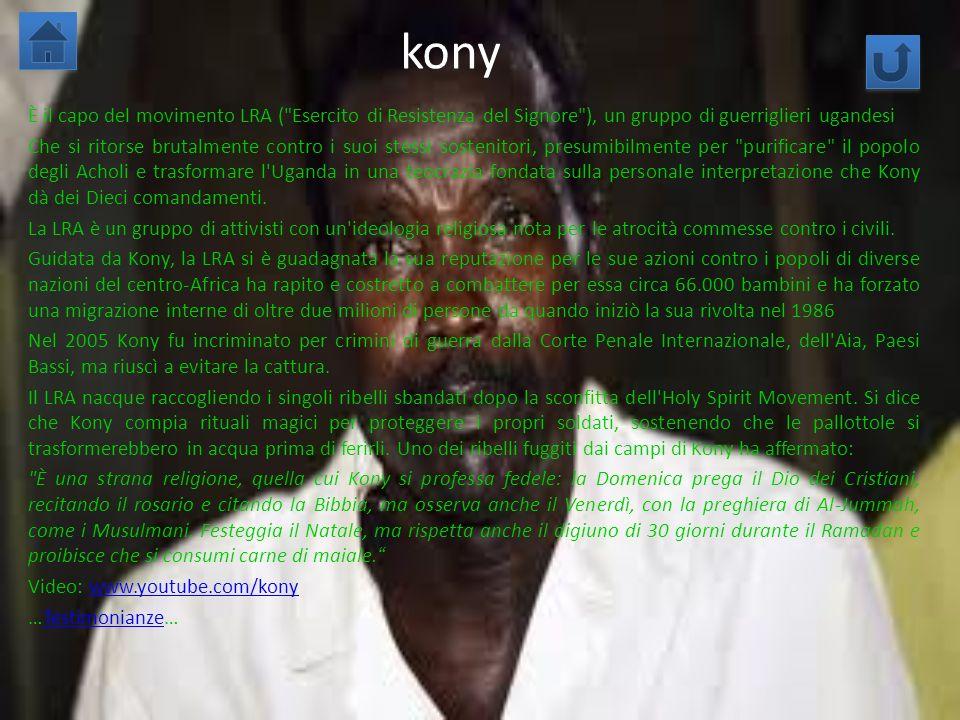 kony È il capo del movimento LRA (