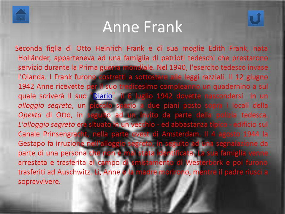 Anne Frank Seconda figlia di Otto Heinrich Frank e di sua moglie Edith Frank, nata Holländer, apparteneva ad una famiglia di patrioti tedeschi che pre