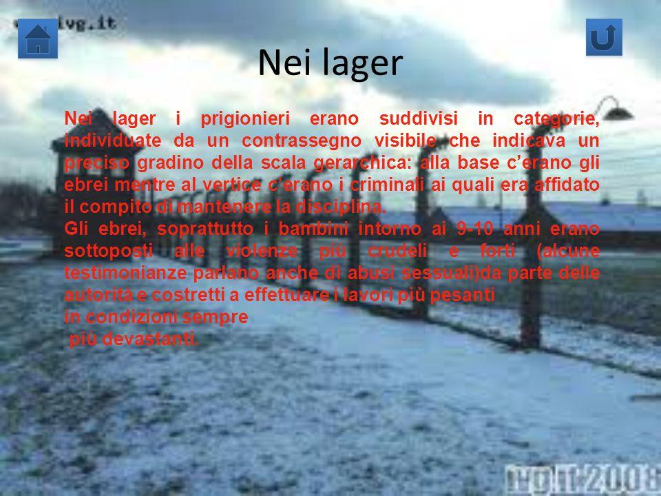 Nei lager Nei lager i prigionieri erano suddivisi in categorie, individuate da un contrassegno visibile che indicava un preciso gradino della scala ge