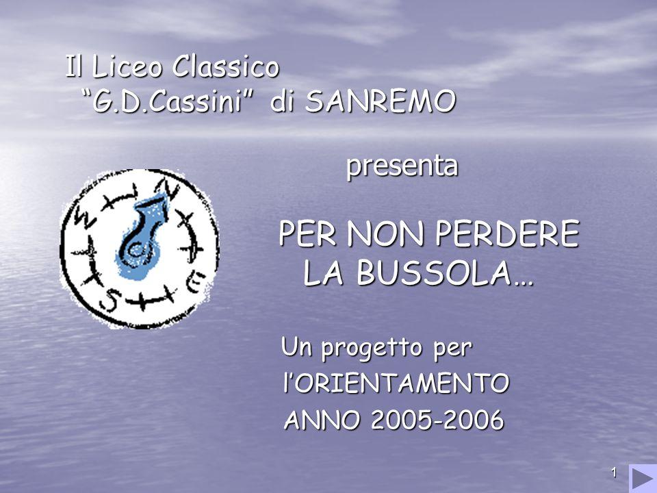 1 presenta PER NON PERDERE LA BUSSOLA… Il Liceo Classico G.D.Cassini di SANREMO Il Liceo Classico G.D.Cassini di SANREMO Un progetto per lORIENTAMENTO