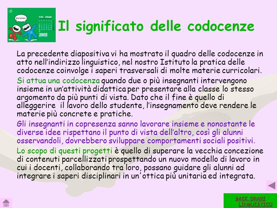 16 Il significato delle codocenze La precedente diapositiva vi ha mostrato il quadro delle codocenze in atto nellindirizzo linguistico, nel nostro Ist