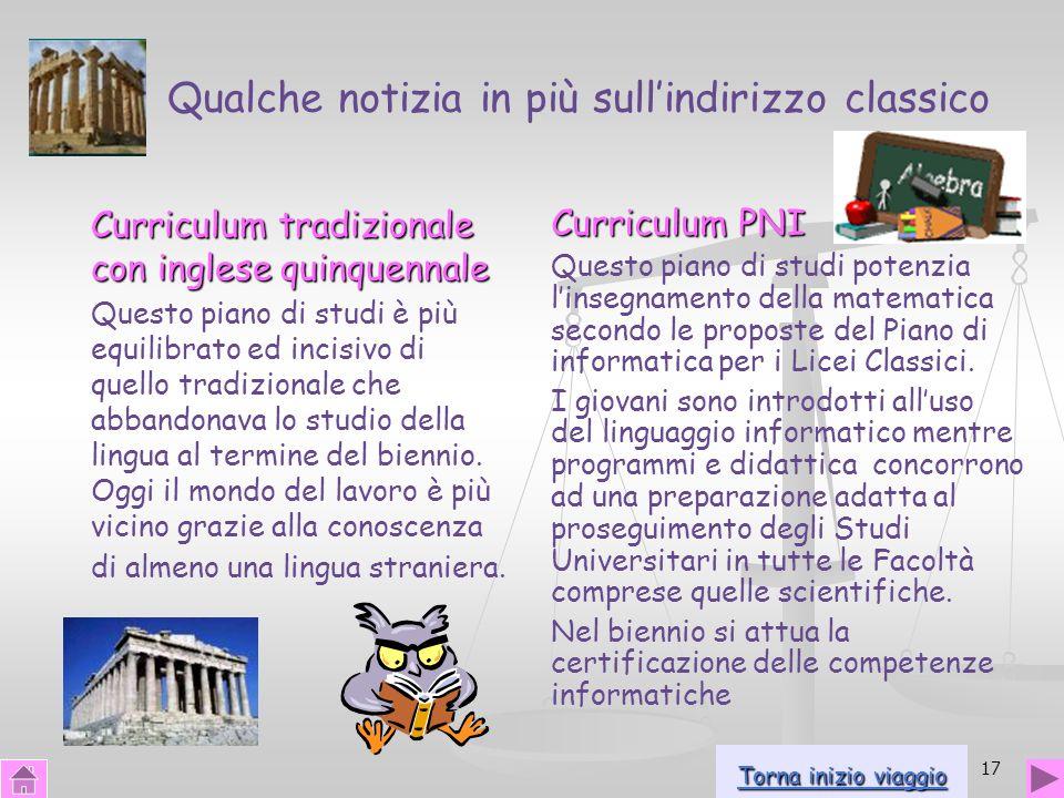 17 Qualche notizia in più sullindirizzo classico Curriculum tradizionale con inglese quinquennale Questo piano di studi è più equilibrato ed incisivo