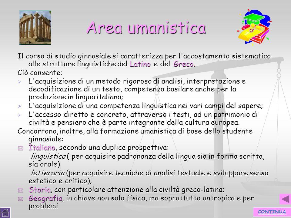 18 Area umanistica Il corso di studio ginnasiale si caratterizza per l'accostamento sistematico alle strutture linguistiche del Latino e del Greco. Ci