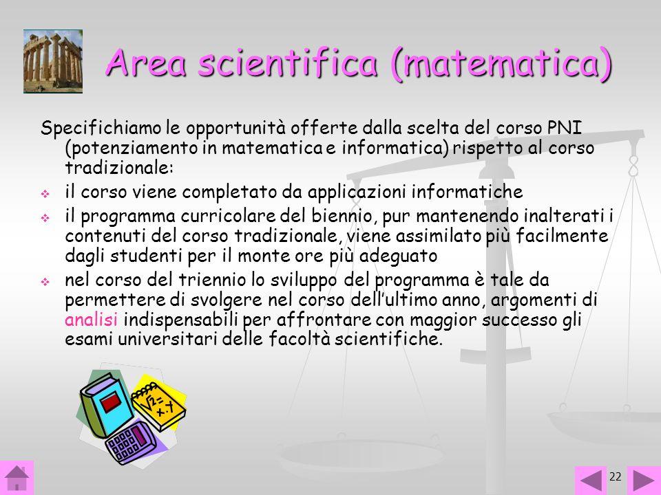 22 Area scientifica (matematica) Specifichiamo le opportunità offerte dalla scelta del corso PNI (potenziamento in matematica e informatica) rispetto