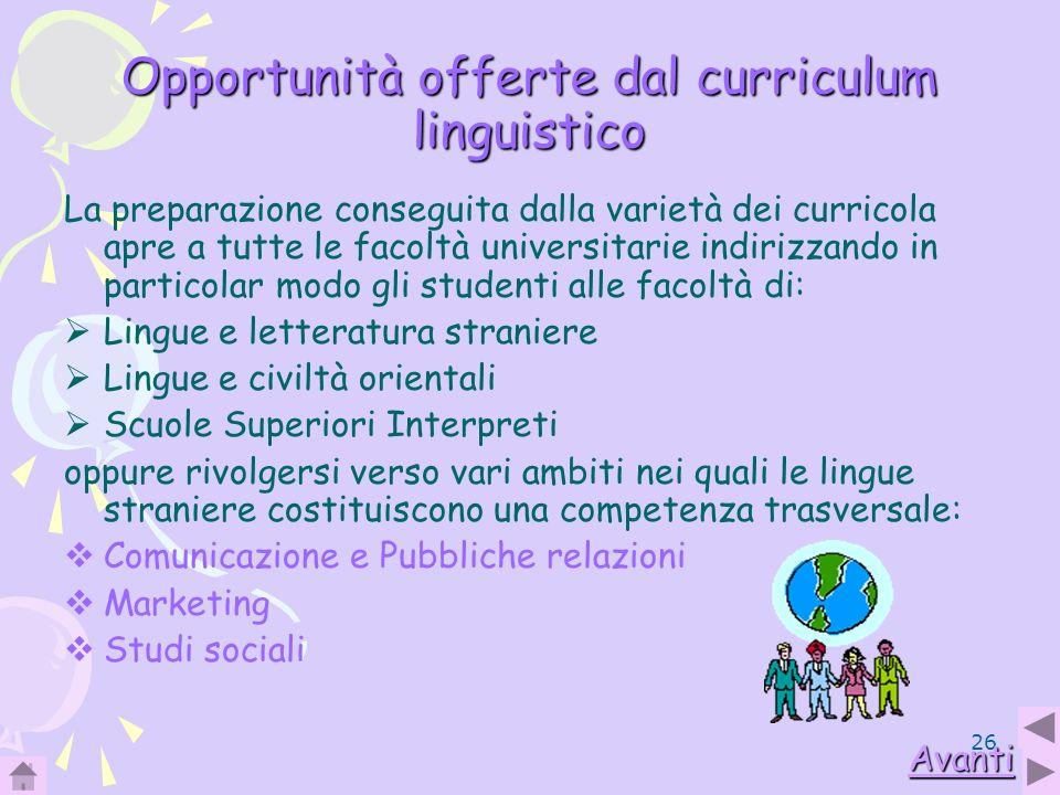 26 Opportunità offerte dal curriculum linguistico La preparazione conseguita dalla varietà dei curricola apre a tutte le facoltà universitarie indiriz