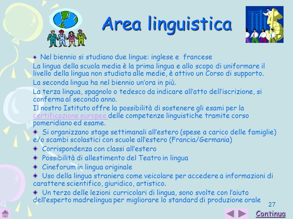 27 Area linguistica Nel biennio si studiano due lingue: inglese e francese La lingua della scuola media è la prima lingua e allo scopo di uniformare i