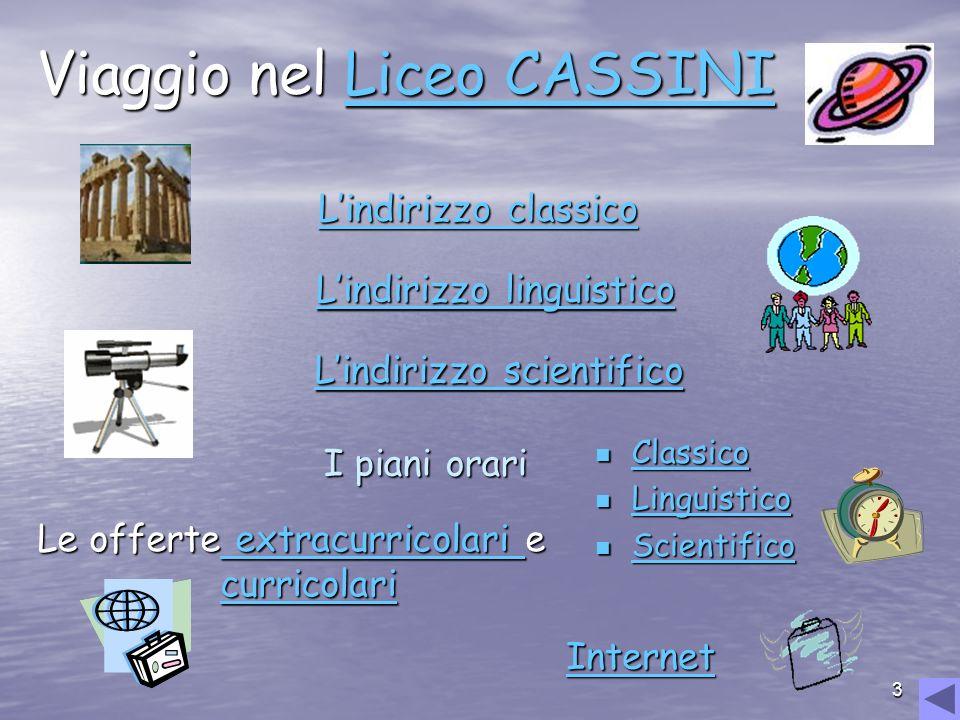 3 Viaggio nel Liceo CASSINI Liceo CASSINILiceo CASSINI Lindirizzo scientifico Lindirizzo scientifico Lindirizzo classico Lindirizzo classicoLindirizzo