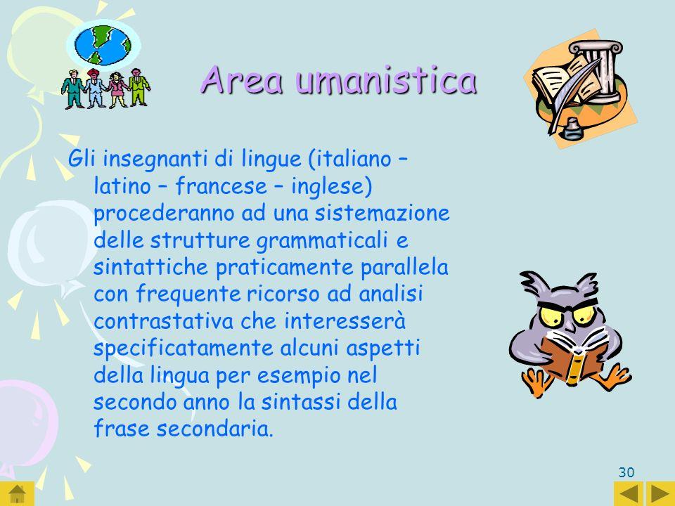 30 Area umanistica Gli insegnanti di lingue (italiano – latino – francese – inglese) procederanno ad una sistemazione delle strutture grammaticali e s
