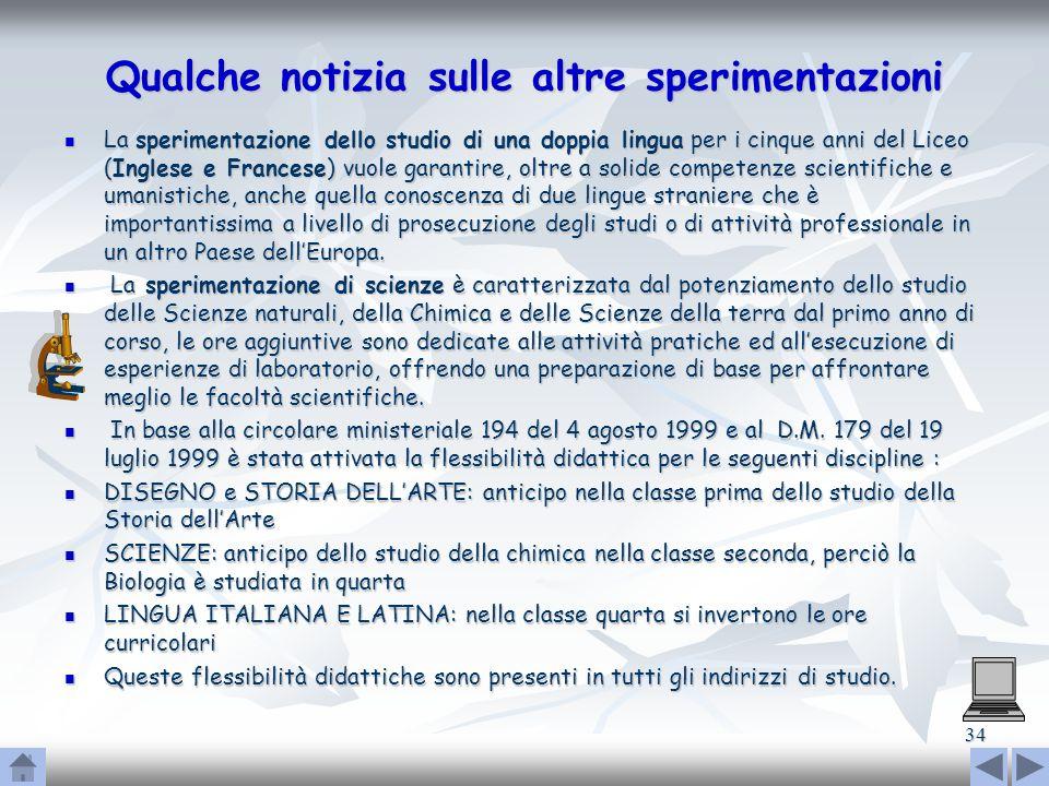 34 Qualche notizia sulle altre sperimentazioni La sperimentazione dello studio di una doppia lingua per i cinque anni del Liceo (Inglese e Francese) v