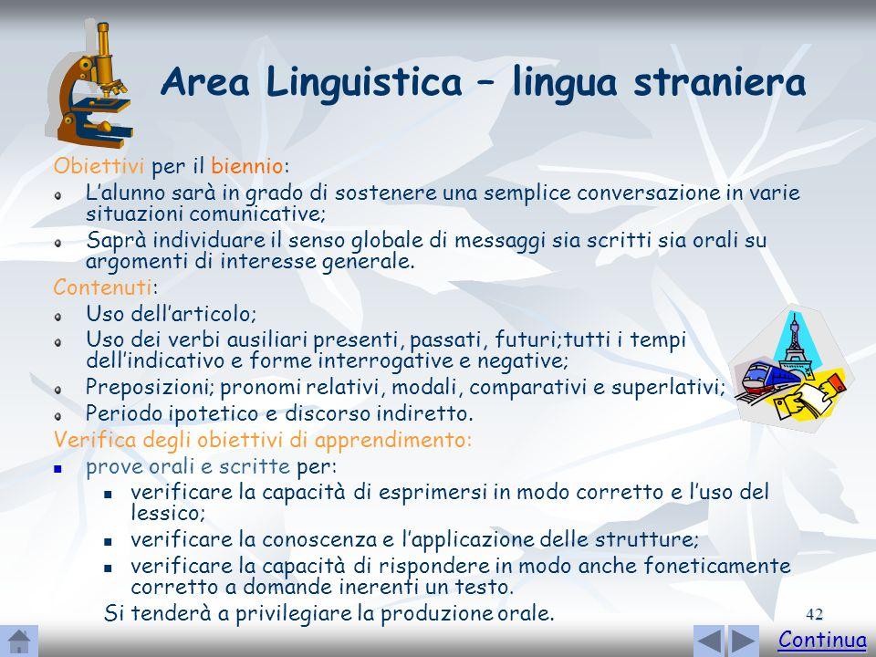 42 Area Linguistica – lingua straniera Obiettivi per il biennio: Lalunno sarà in grado di sostenere una semplice conversazione in varie situazioni com