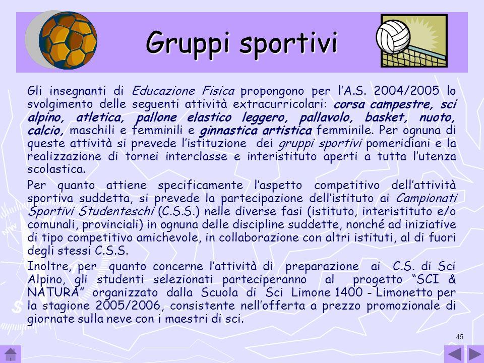 45 Gruppi sportivi Gli insegnanti di Educazione Fisica propongono per lA.S. 2004/2005 lo svolgimento delle seguenti attività extracurricolari: corsa c