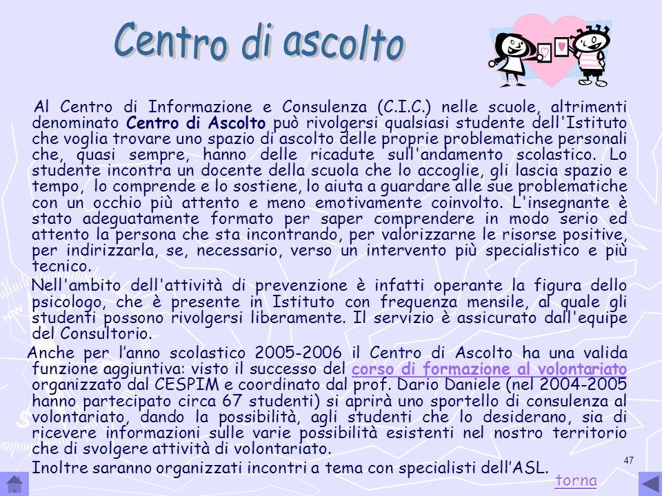 47 Al Centro di Informazione e Consulenza (C.I.C.) nelle scuole, altrimenti denominato Centro di Ascolto può rivolgersi qualsiasi studente dell'Istitu