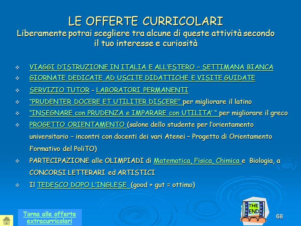 68 LE OFFERTE CURRICOLARI Liberamente potrai scegliere tra alcune di queste attività secondo il tuo interesse e curiosità VIAGGI DISTRUZIONE IN ITALIA