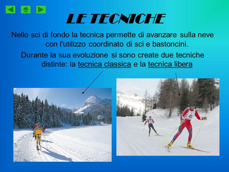 La tecnica classica La tecnica classica si esegue aiutandosi con due solchi nella neve battuta larghi poco più degli sci, detti binari , che corrono lungo il lato della pista; questi guidano lo sci senza bisogno che lo sciatore debba correggere la loro direzione.